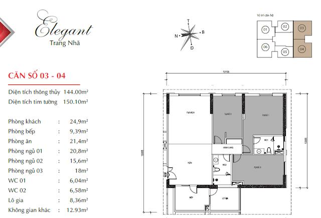 Căn hộ 03 và 04 với diện tích 144m2 thông thủy, 03 phòng ngủ