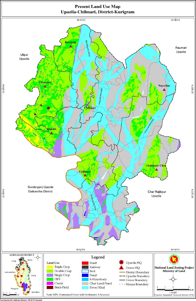 Chilmari Upazila Mouza Map Kurigram District Bangladesh