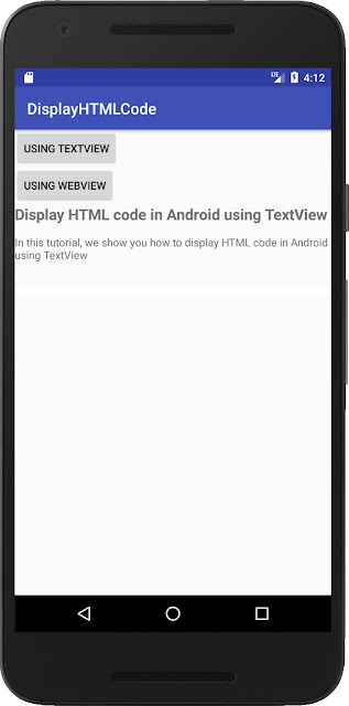 Display HTML code in Android using TextView