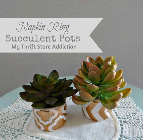 Vintage Charm Party 14  mythriftstoreaddiction.blogspot.com Napkin Ring Succulent Mini Pots Feature
