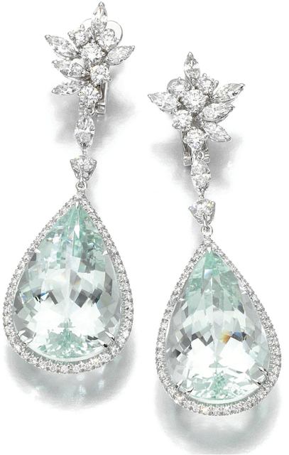Aquamarine and diamond earrings by Margherita Burgener.
