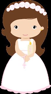 Clipart de Nenas en Rosa para su Primera Comunión.