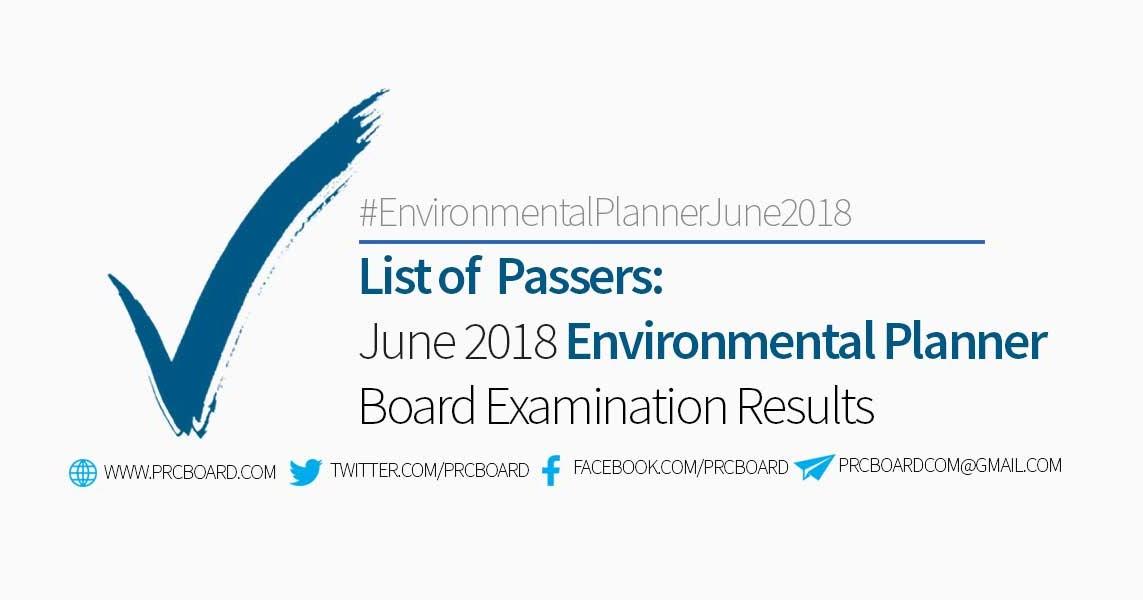 Environmental Planner Board Exam Result June 2018 – List of Passers -  PRCBoard.com 73ca3c27c42