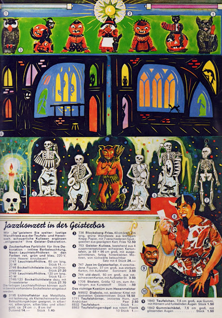 German diecut cats and pumpkins, devil, and skeleton band seen here for Karneval, not vintage Halloween collectibles.