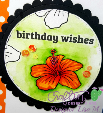 This is a picture of a greeting card with bright orange lily featuring Craftin Desert Divas April Release