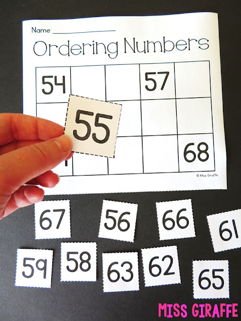 Ordering numbers puzzles for first grade where students cut out the numbers then put them in order in their number chart to complete the activity! Fun cut and paste worksheets and so many other fun first grade math teaching ideas