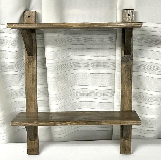 wooden shelves standing on table
