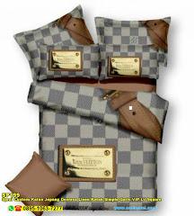 Sprei Custom Katun Jepang Dewasa Linen Kotak Simple Garis VIP LV Square