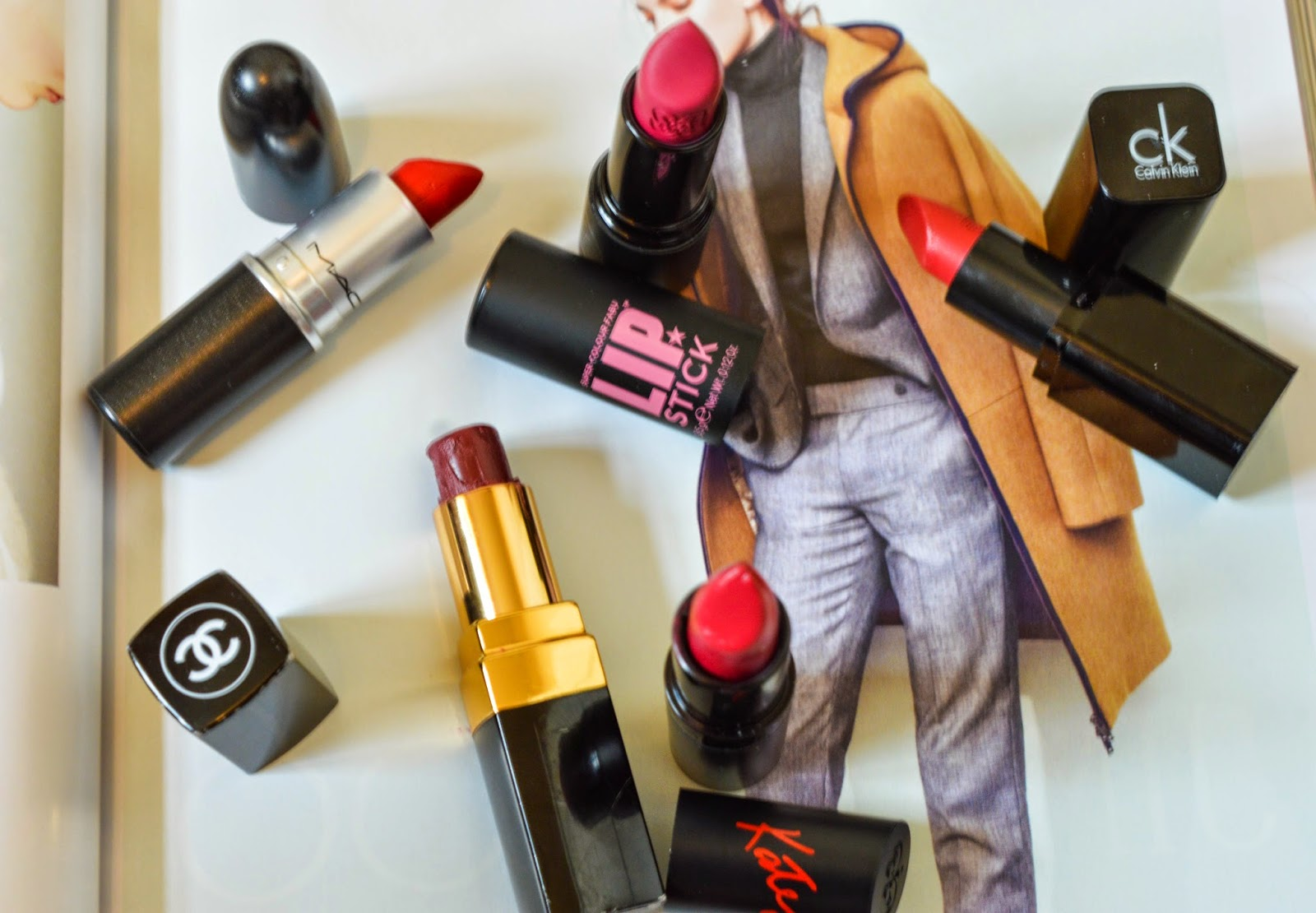 Red & Berry lipsticks including Channel, Mac, Soap & Glory, Rimmel Kate Moss and Calvin Klien