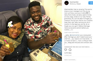 Davido's brother shares word of Advice to Men as he returns from Trip with his Mum
