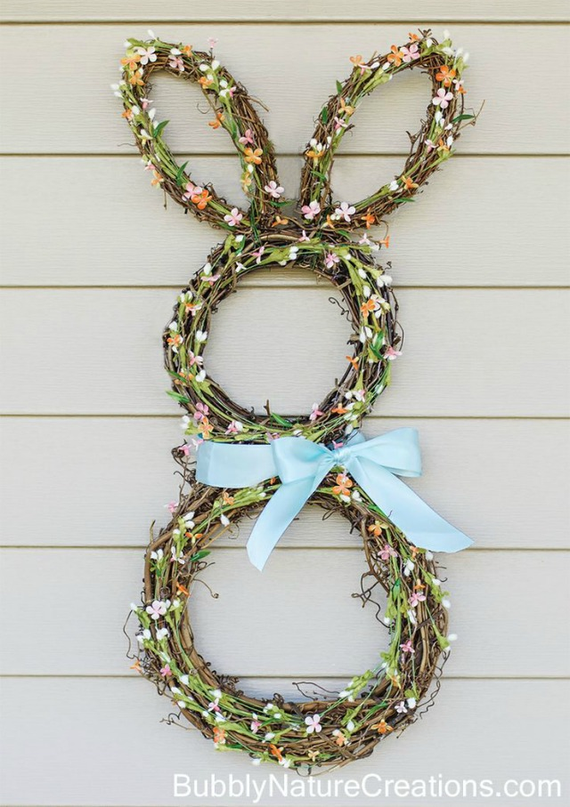 DIY Grapevine Bunny Wreath - darling!