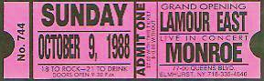Monroe ticket L'Amour East 1988 Queen's New York