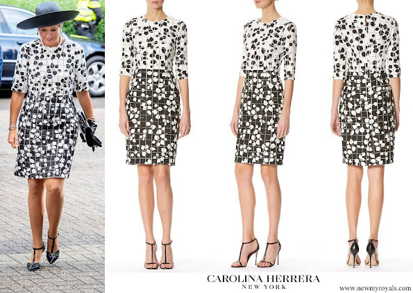 Queen Maxima wore Carolina Herrera Leaf Print Tweed Half Sleeve Dress