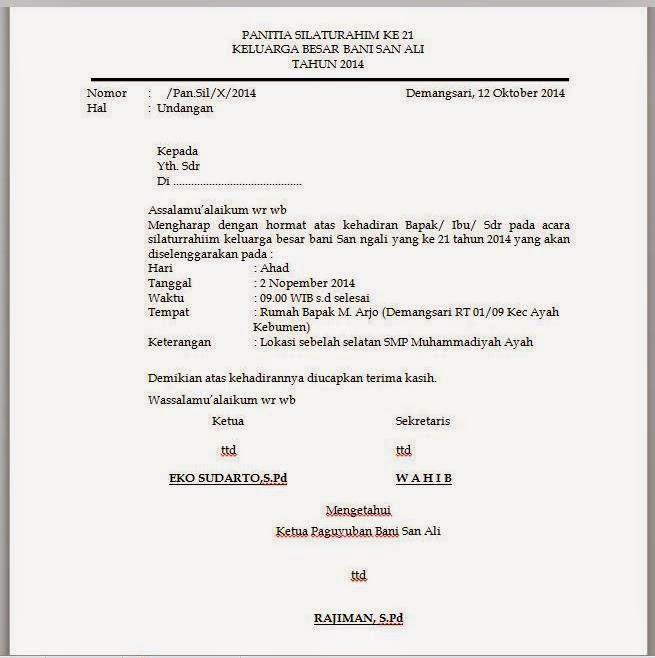 Contoh Undangan Silaturahmi Keluarga Besar Aneka Macam Contoh