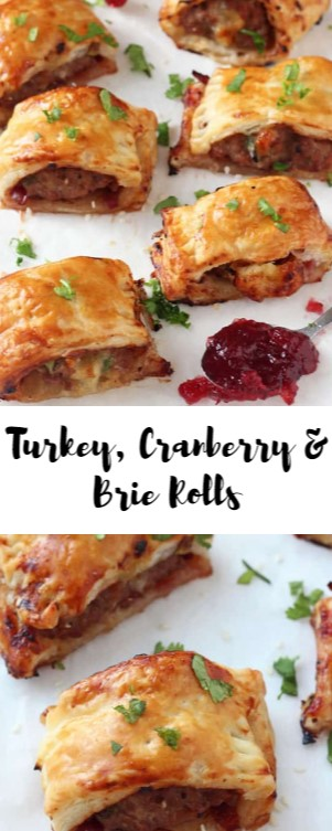 Turkey, Cranberry & Brie Rolls #christmas #snack