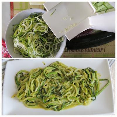 spaghetti vegan di zucchine con pesto