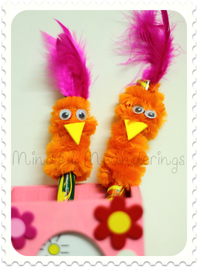 Pipe Cleaner Pencil Topper Bird Artsy Craftsy Mom
