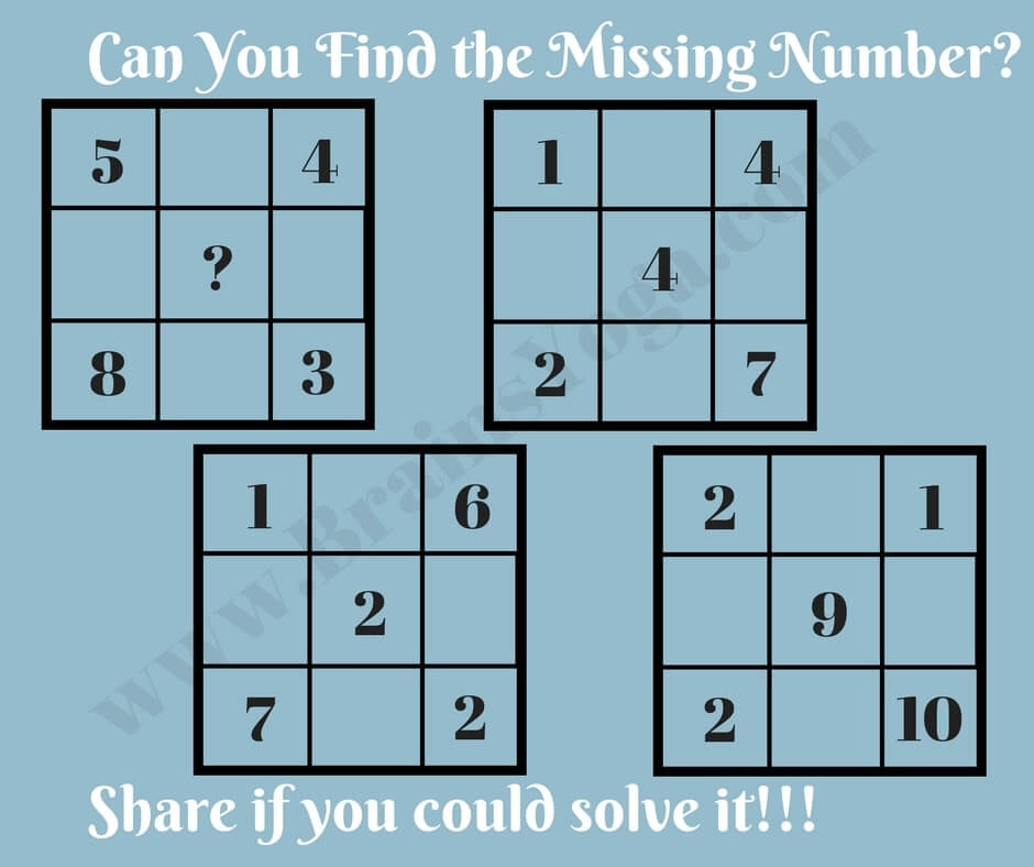 Missing Number in Square: Maths Logic Puzzle with Answer - Brain\'s Yoga