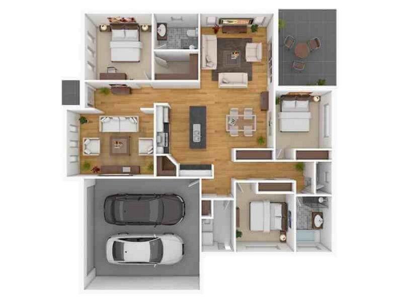 denah rumah modern type 100 1 2 lantai tampak unik