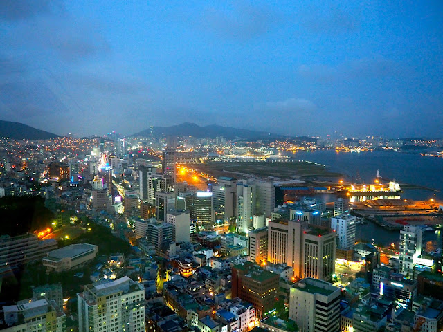 View from Busan Tower at night, from Nampo-dong, Busan, South Korea