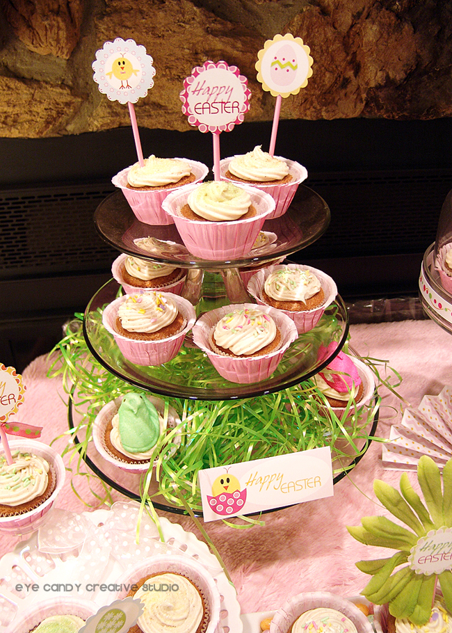 easter cupcakes, jelly beans, flowers, decorating an easter dessert table
