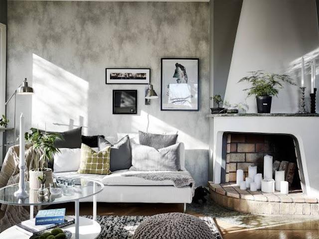Gri, rustic și scandinav într-un apartament de 83 m²