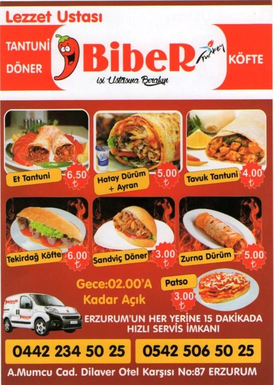 Biber Tantuni Doner Tavuk Doner Erzurum Firmaları