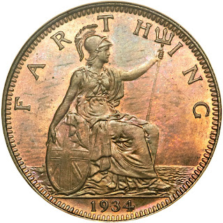 British Coins Farthing 1934 Seated Britannia