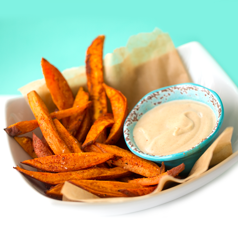 Baked Spiced Sweet Potato Fries with Cinnamon Cashew Cream Dip
