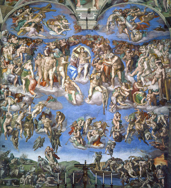 The Last Judgment by Michelangelo from 1536 until 1541. Sistine Chapel.