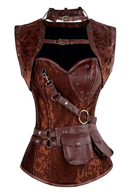 Steampunk spiral steel boned corset top with jacket