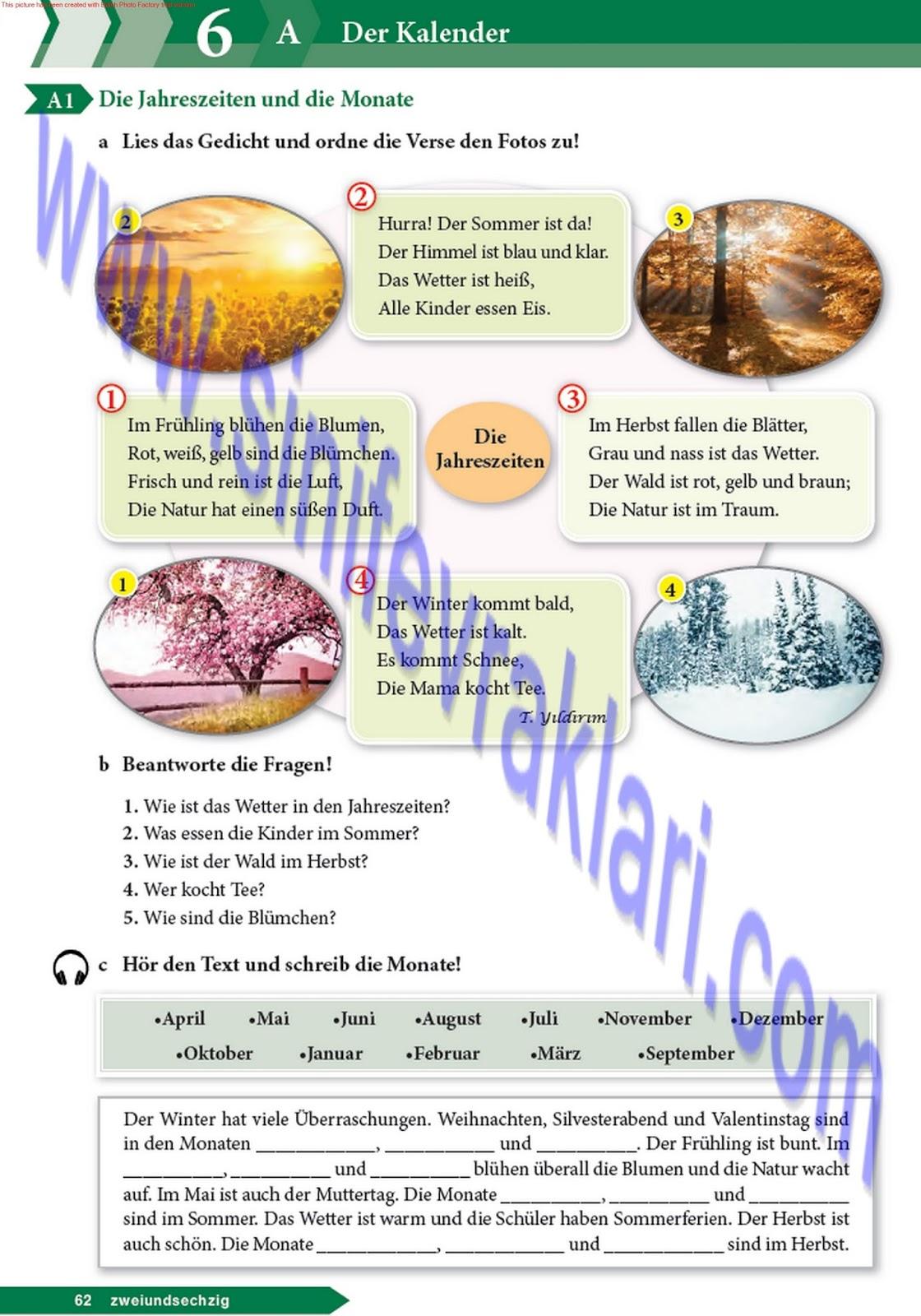 9 Sınıf Almanca A11 Ders Kitabı Cevapları Sayfa 62 Ders Kitabı