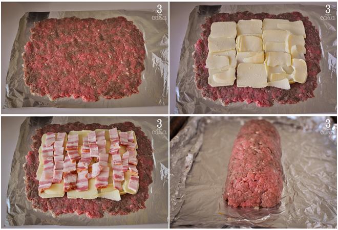 rocambole carne moída bacon