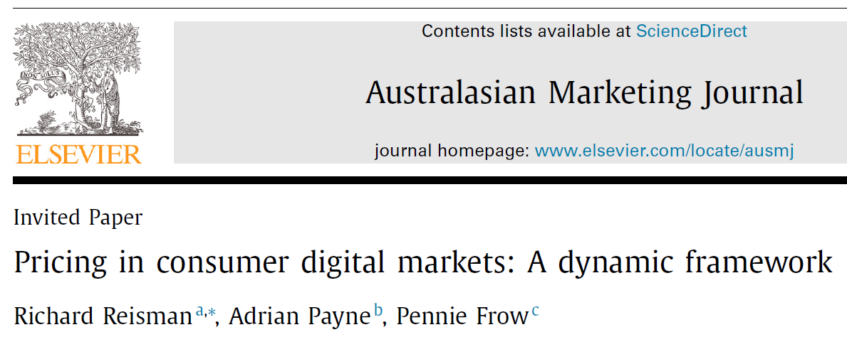 "Australasian Marketing Journal Article on FairPay -- ""AMJ Best Paper of 2019"""