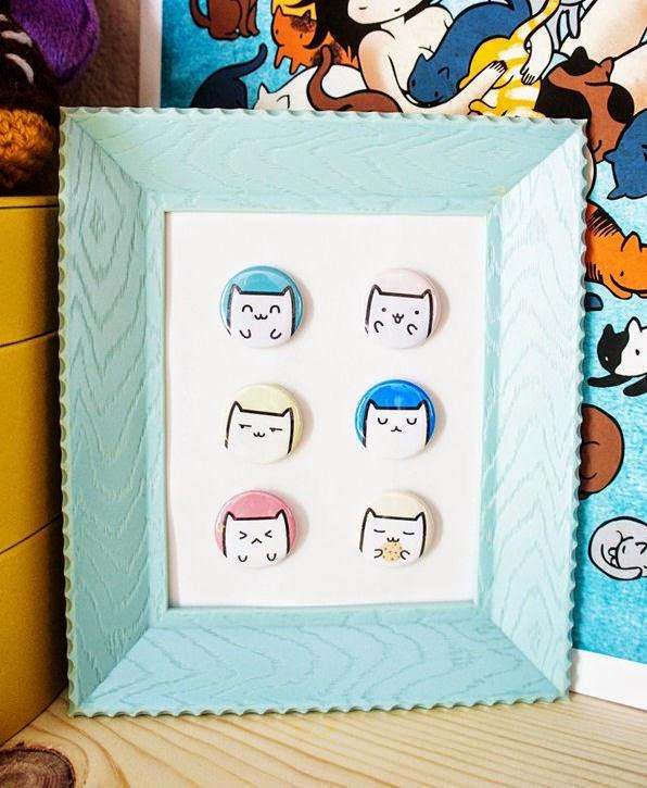 C mo hacer un cuadro con botones impresos con gatos - Como hacer cuadros con botones ...