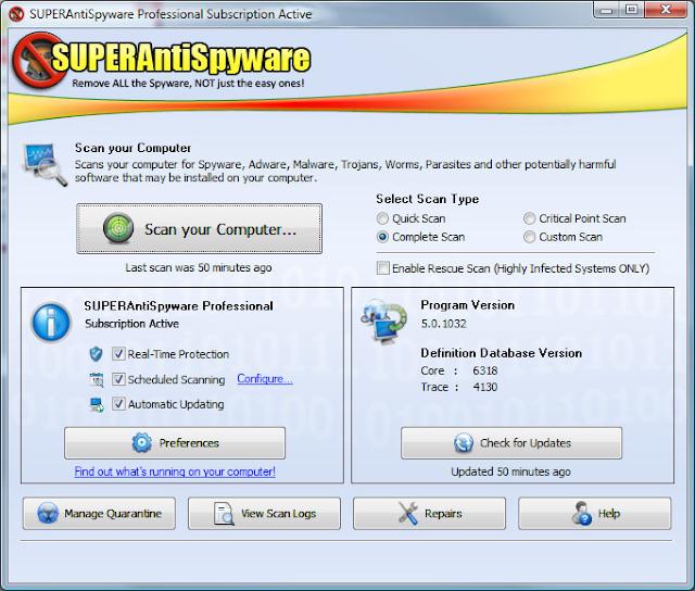 trinh cap nhat khong can mang cho SUPERAntiSpyware