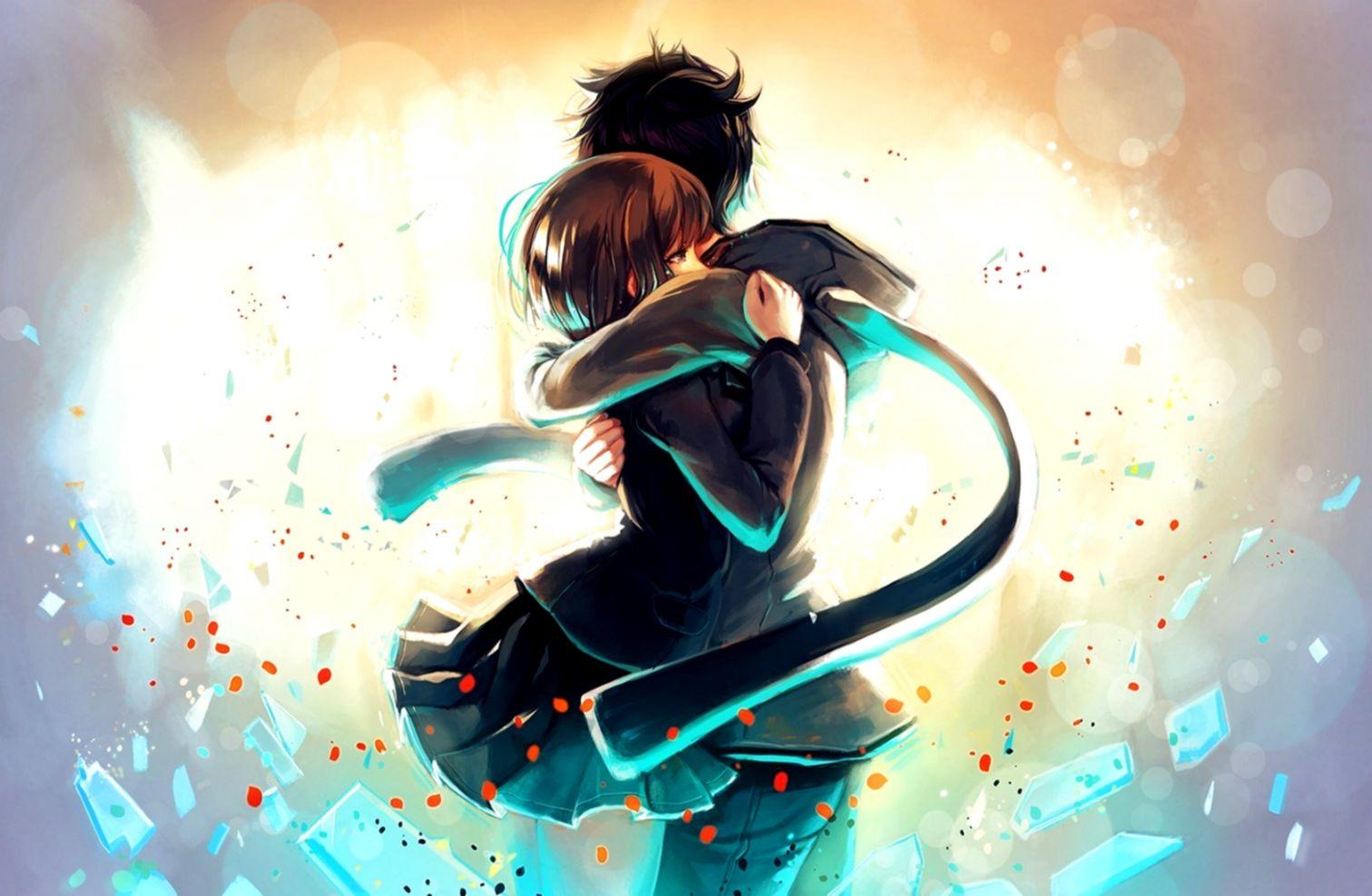 Art Couple Hug Love Happy Manga Anime Love Cute Wallpaper