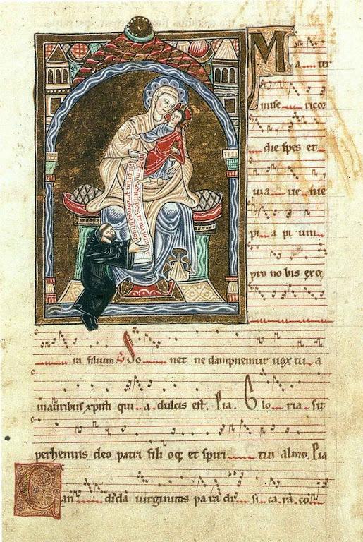 Devoção de um monge cluniacense a Nossa Senhora. Segundo alguns seria o próprio Santo Odon. Bibliothèque National de France, MSS. ms.latin 17716, fol 23