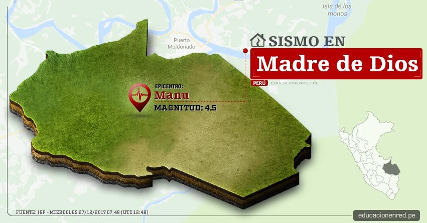 Temblor en Madre de Dios de 4.5 Grados (Hoy Miércoles 27 Diciembre 2017) Sismo EPICENTRO Manu - Salvación - IGP - www.igp.gob.pe