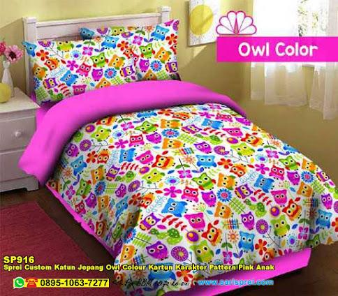 Sprei Custom Katun Jepang Owl Colour Kartun Karakter Pattern Pink Anak