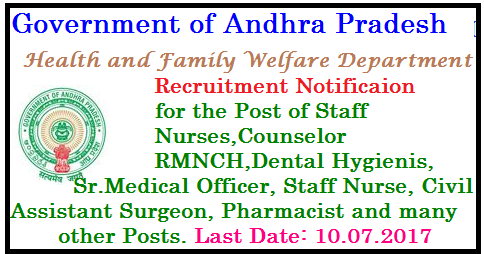 Recruitment Notification for Certain posts in HEALTH & FAMILY WELFARE DEPARTMENT GOVERNMENT OF ANDHRA PRADESH HEALTH & FAMILY WELFARE DEPARTMENT NOTIFICATION FOR RECRUITMENT OF CERTAIN POSTS ON CONTRACT BASIS. Notification No.NHM-1/2017. Applications are invited from the qualified and eligible candidates for filling up of the following vacancies on Contract basis, initially for a period of six months to discharge their duties in I.T.D.A., Parvathipuram Area and roster points in Health Medical & Family Welfare Department, Government of Andhra Pradesh. Applications may be sent to the DM&HO., Vizianagaram for which application is made. The details can be obtained at Vizianagaram website. www.vizianagaram.nic.in/2017/07/recruitmennt-notification-for-certain-posts--health-family-welfare-department-DM-HO-vizianagaram.html