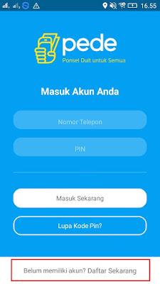 Cara daftar di Aplikasi Pede Android