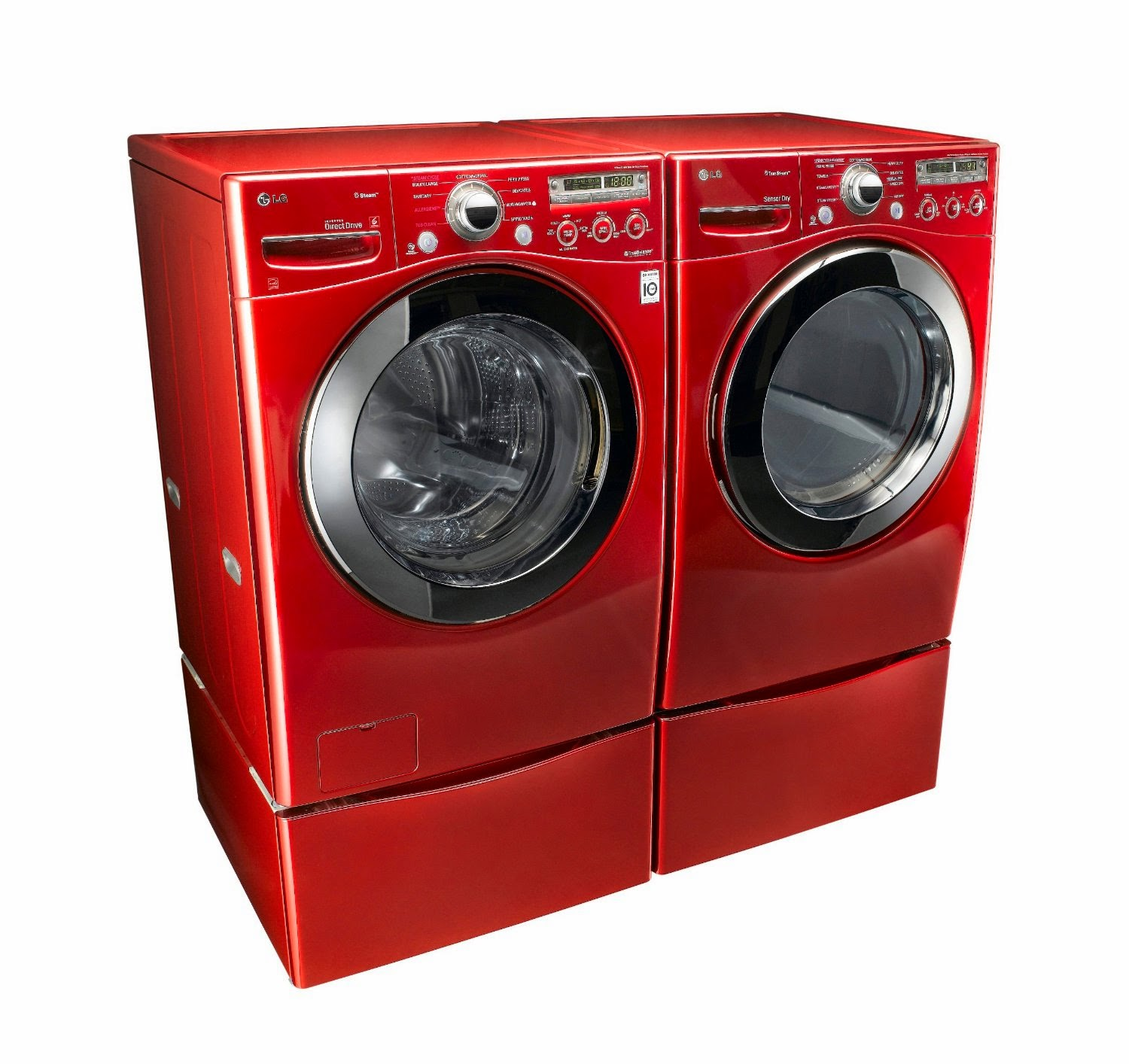 lg cherry red steam laundry pair with pedestals and dryers