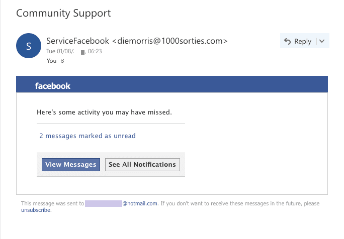 Facebook Phishing email example