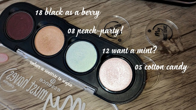 Swatches Review - Essence my must haves Eyeshadow - sombras de ojos