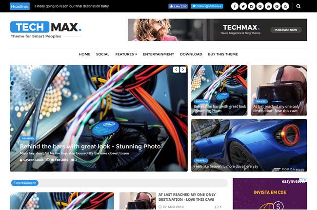 Techmax - Responsive Magazine Blogger Template