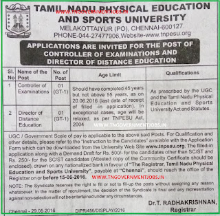 Tamil Nadu Physical Education and Sports University (TNPESU) Chennai Recruitments May 2016