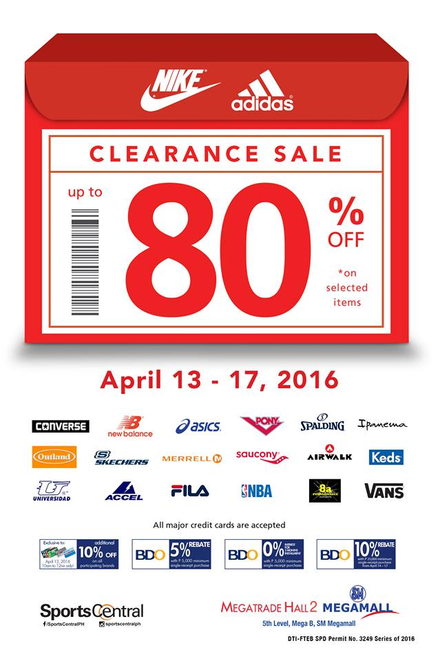 e24f259412b Nike   Adidas ( more) Clearance Sale at SM Megatrade  April 2016. Don t  miss Sports Central s ...