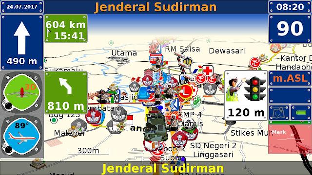 Ilustrasi perhitungan waktu tempuh menuju tujuan tertentu. Jarak 604 km dapat ditempuh dalam waktu 15 jam 41 menit.