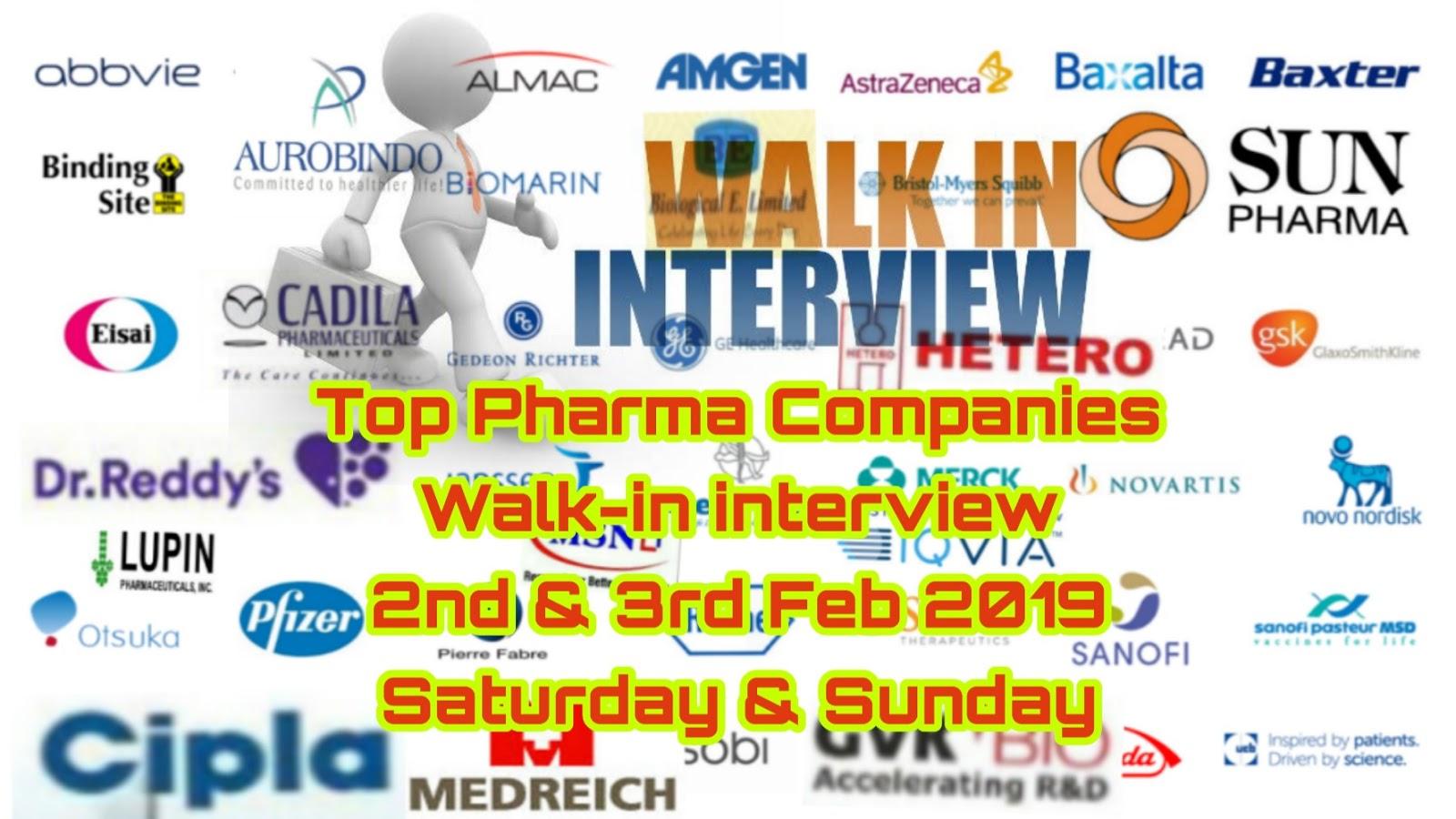 Top pharma companies | Walk-in interview on 2nd & 3rd Feb